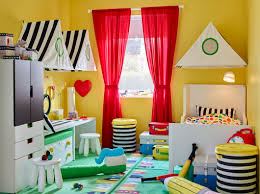 best combination color for white kids room yellow paint color with red color curtains combination