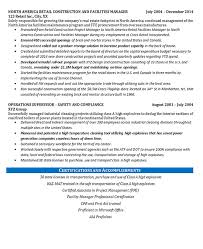Transportation Manager Resume Facilities Manager Resume Example Construction Projects