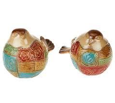 2 piece patchwork ceramic birds by valerie page 1 u2014 qvc com