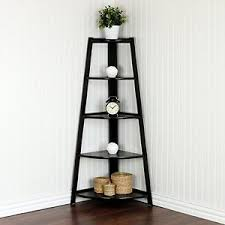 Corner Ladder Bookcase 5 Tier Corner Ladder Garden Shelf Curio Display Rack Stand Storage