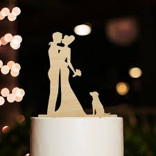 cake topper with dog rustic wedding cake topper with dog silhouette wedding cake topper