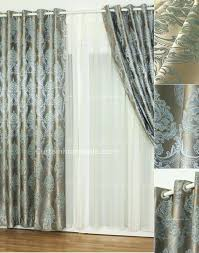 Patterned Blackout Curtains Gray Printed Curtains Polyester Silver Gray Jacquard Fabric Floral