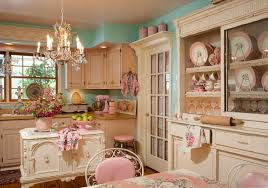 Shabby Chic Vintage Home Decor Cute Pink And Tosca Nanced Dining And Cooking Room On Hardwood