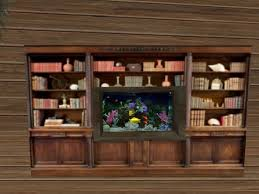 second life marketplace maple bookcase with fish tank u0026 animated