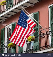 Mi Flag American Flag Outside A Historic House In The French Quarter New