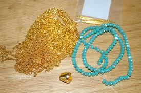 turquoise gold chain necklace images Easy tutorial on tassel necklace with gold chain pandahall beads jpg