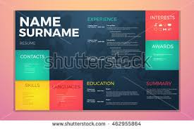 Free Colorful Resume Templates Free Curriculum Vitae Vector Template Download Free Vector Art