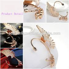 one side feather earring customed one side ear hanging earrings no percing cuff earring