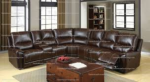 brown leather plush 3 recliners cup holders storage sectional set