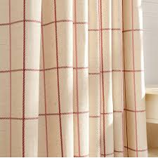Pink Tartan Curtains Beige Linen Cotton Plaid Curtains