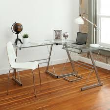 3 piece glass desk walker edison 3 piece contemporary desk silver with clear glass d51l29