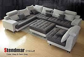 Contemporary Microfiber Sofa Amazon Com 5pc Modern 2 Tone Grey Microfiber Big Sectional Sofa