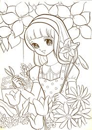 manga coloring pages in flower garden coloringstar