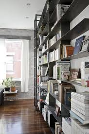 Bookcase Ladder Kit by Handmade Minimal Blackened Steel Bookshelves With Rolling Library