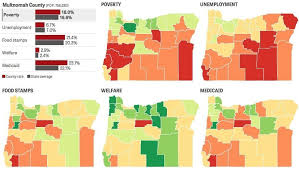 map of oregon with counties poverty in oregon interactive maps show food sts welfare