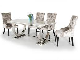 Silver Dining Tables Exquisite Arianna 200cm Marble Dining Table And 6