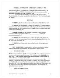 free general construction contract template resume examples