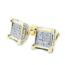 mens diamond stud earrings diamond stud earrings 10k yellow gold back 10mm wide pave set 3d