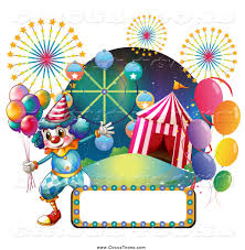 circus clipart of a clown with a big top fireworks carnival ride