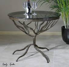 Kitchen Accent Furniture Round Hand Forged Metal Twigs Tree Root Look Dining Kitchen Or