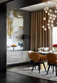 contemporary dining room with contemporary lighting and abstract