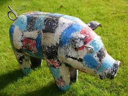 this large metal painted pig garden ornament is a colourful