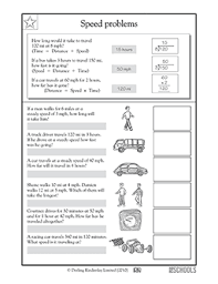 4th grade math worksheets calculating speed greatschools