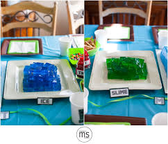 minecraft made in blue water green slime and yellow lava