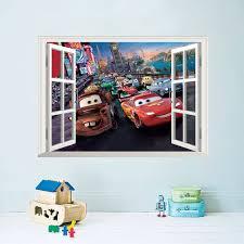 diy movie carton 3d cars wall stickers boys kids bedroom home