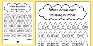 raindrop missing number activity sheet missing number rain