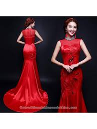 Chinese Wedding Dress Embroidered Red Satin Chiffon Mermaid Trailing Dress Chinese
