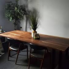 mid century modern inspired solid walnut dining table flint