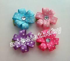 loopy bow 40pcs polka dotted flower clip tiny white polka dots 1 5 hair bow