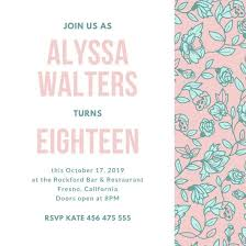 pink green floral pattern 18th birthday invitation templates by