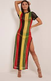 Jamaican Flag Day Rihanna Striped Side Split Knitted Maxi Dress Knitwear