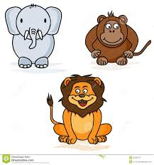 elephant monkey and lion the style of childrens drawings stock