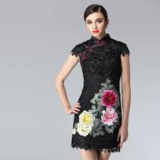 black lace embroidered 3d peony floral modern mini qipao short