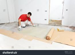 Laminate Floor Layers Worker Carpenter Doing Parquet Wood Floor Stock Photo 116294833