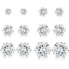 stainless steel stud earrings cz high polished stainless steel stud earrings 6 pair set