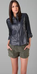 leather blouse lyst elie tahari leather celia blouse in blue
