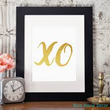 xo poster print hugs and kisses nursery gold wall art home decor