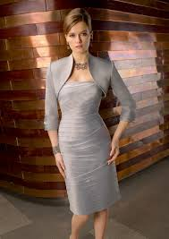 silver mother of bride dress 70433 with middle length long sleeve