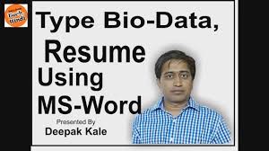 Bio Data Resume Sample by How To Create Bio Data Or Resume Using Ms Word In Hindi Simple