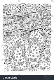 coloring book sea beach slippers stock vector 441230497