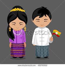 myanmar boy traditional costume stock vector 240777370