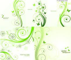 4 designer green butterfly vine pattern vector material