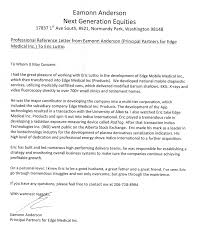 professional reference letter from eamonn anderson principal