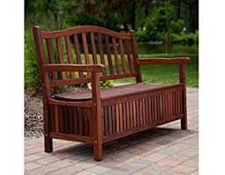 Garden Bench With Storage 4 Ft Outdoor Wooden Curved Back Bench With Storage