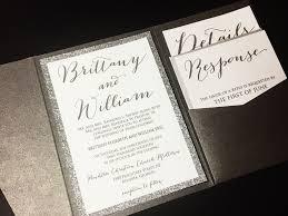 silver glitter wedding invitation pocketfold wedding invitation