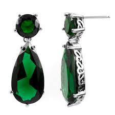 emerald green earrings ang s 25 tcw green cz pear drop silvertone earrings
